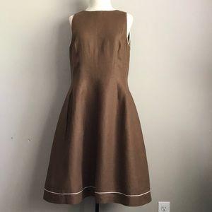 SARA CAMPBELL brown linen dress